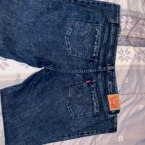 Levi's 535 dark acid wash skinny jeans.